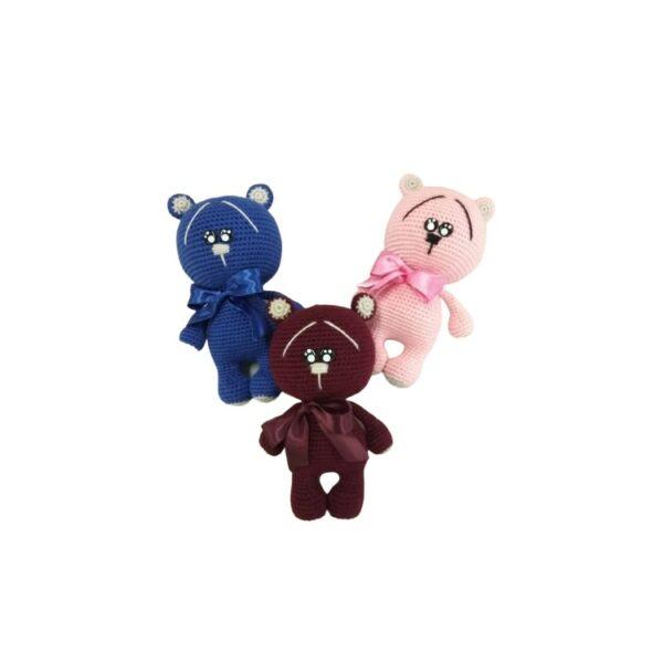 """בובה בעבודת יד דובונים בצבעים שונים בגודל 20 ס""""מ"""