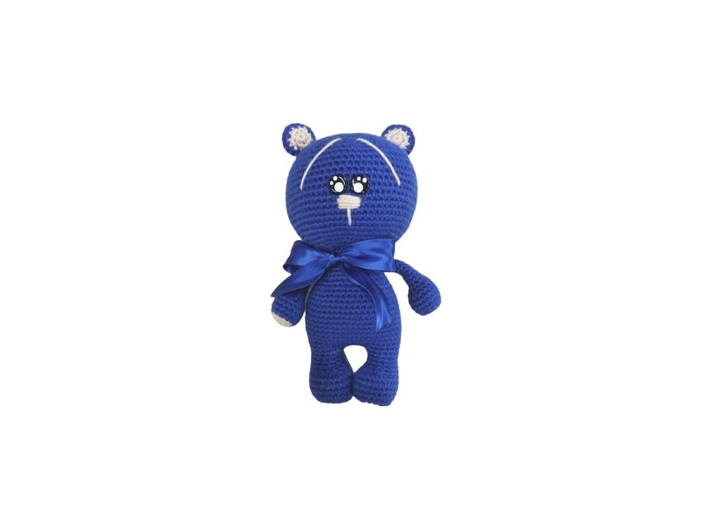 """בובה בעבודת יד דובון בצבע כחול בגודל 20 ס""""מ"""