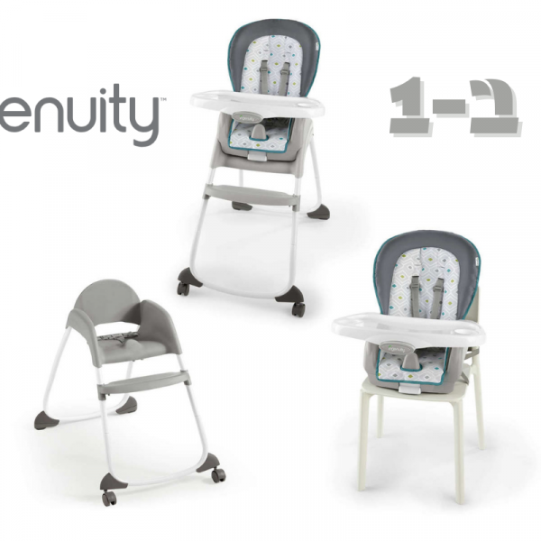 כיסא אוכל גבוה 3 ב-1 אינג'ניוטי ingenuity צבע נאש אפור טורקיז