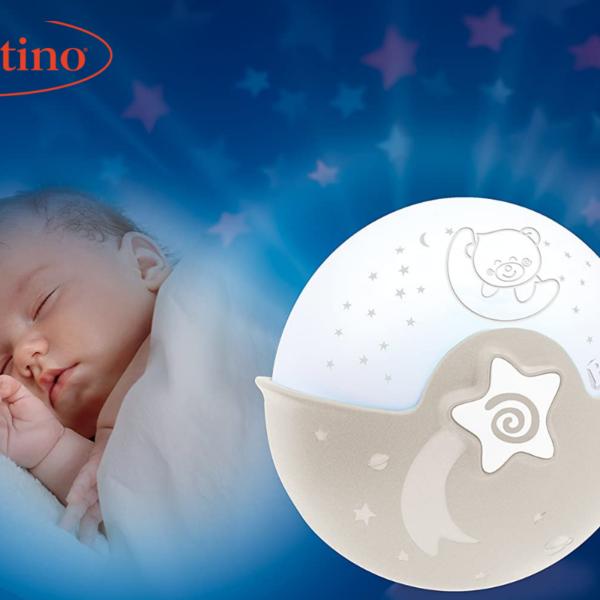 מנורת לילה מנגנת ומקרן 3 ב-1 מבית Infantino