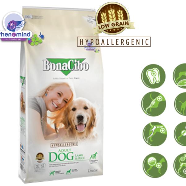 """מזון לכלב בוגר בונאסיבו BONACIBO כבש&אורז 15 ק""""ג"""