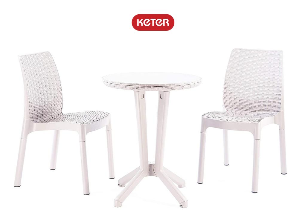 """סט ישיבה ביסטרו 2 כסאות + שולחן מבית """"KETER"""" בצבע לבן"""