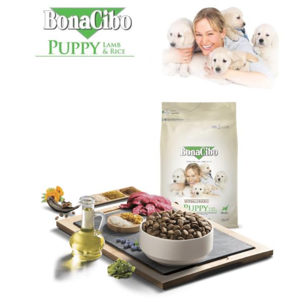 """מזון לגורי כלבים בונאסיבו BONACIBO כבש&אורז 15 ק""""ג"""