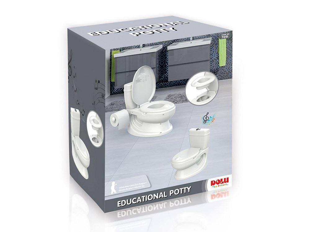 סיר גמילה בצורת אסלה מבית Dolu Toys עם קולות הורדת מים ומתקן לנייר טואלט בצבע לבן