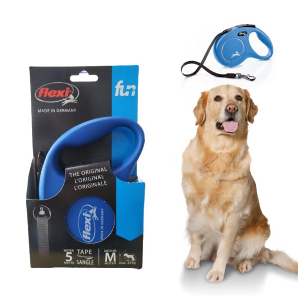 """רצועת טיול פלקסי S / M לכלב 5 מ' עד 15 / 25 ק""""ג בצבע כחול"""