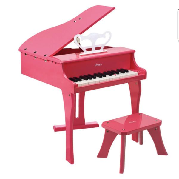 פסנתר כנף לילדים כולל ספסל מבית HAPE - ורוד