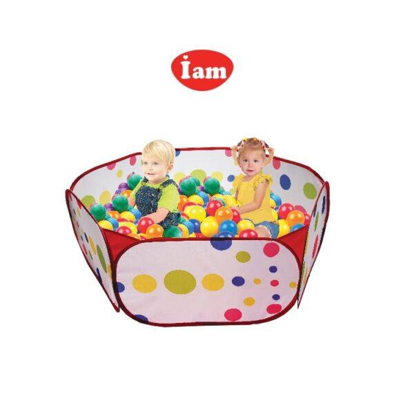 בריכת כדורים גדולה + 50 כדורים צבעוניים גמישים I AM Toys לשימוש ביתי וחיצוני