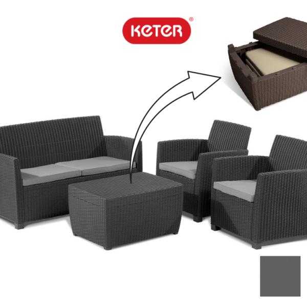 """סט מערכת ישיבה MIA + שולחן אחסון מבית """"KETER"""""""