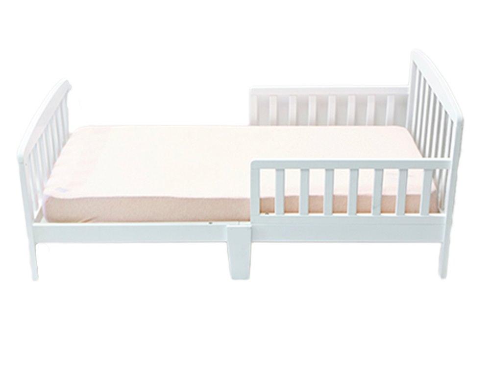 מיטת מעבר מעץ בצבע לבן Infanti עם מעקה עובר צד