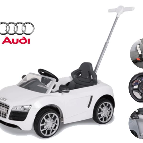 מכונית לילדים אאודי AUDI עם ידית חיפה - צבע לבן