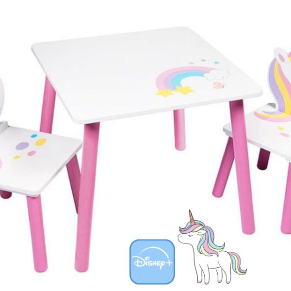 סט שולחן + 2 כיסאות מעץ חד קרן Getter Group