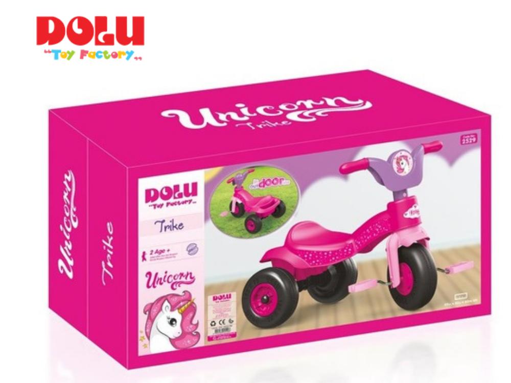 תלת אופן עם פדאלים ורוד 'חד קרן' מבית Dolu Toys